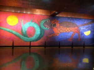 Mural, jaguar and serpent